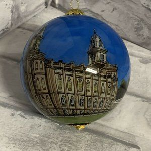 Manti Utah Temple Glass Ball Ornament LDS Mormon